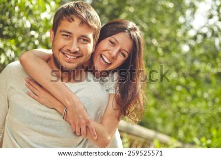 Portrait of affectionate couple - stock photo