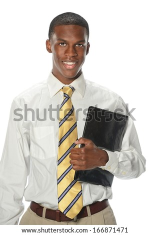Portrait of African American businessman holding folder isolated over white background