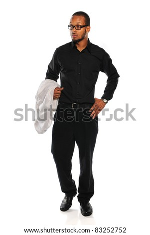 Portrait of African American businessman standing isolated over white background