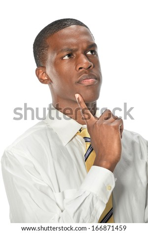 Portrait of African American businessman thinking isolated over white background