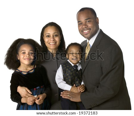 Portrait of African American family on a white background - stock photo