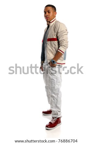 Portrait of African American man standing isolated over white background - stock photo