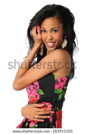 Portrait of African American woman smiling isolated over white background - stock photo