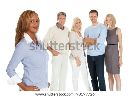 Portrait of African American woman with group of people in background on white - stock photo