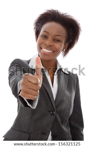 Portrait of African American woman with thumb up. - stock photo