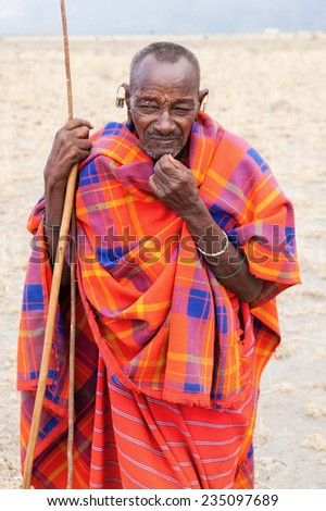 Portrait of African senior man, Masai community.Tanzania - stock photo