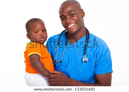 portrait of afro american male pediatrician with young patient - stock photo