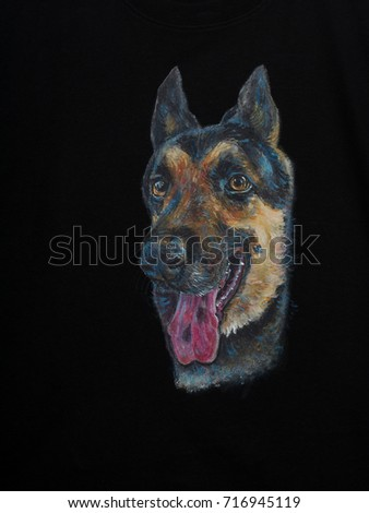 Portrait of alsatian dog stick out the tongue,acrylic painting on fabric