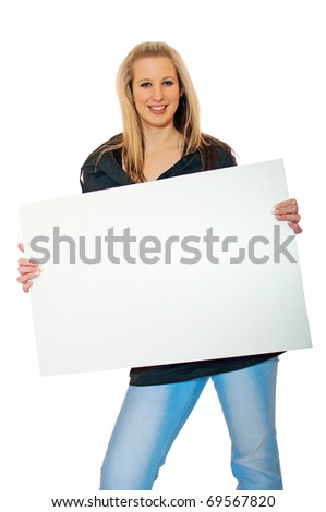 Portrait of am attractive smiling young woman with blank bill board over white background - stock photo