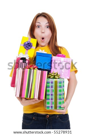portrait of amazed girl with gift boxes. isolated on white background - stock photo