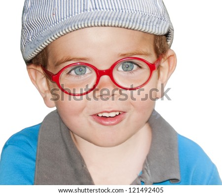 Portrait of an adorable child with red glasses on white