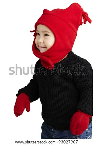 portrait of an adorable kid smiling wearing winter clothes over white - stock photo