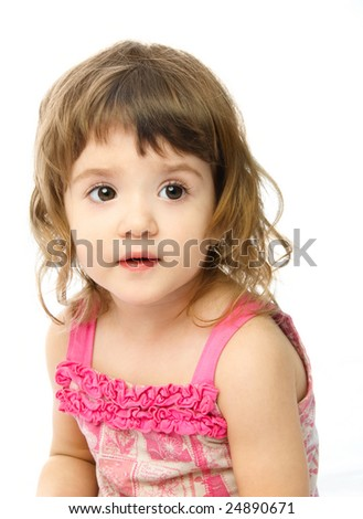 portrait of an adorable one year old girl against white background