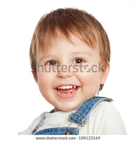 Portrait of an adorable toddler smiling, isolated on white - stock photo
