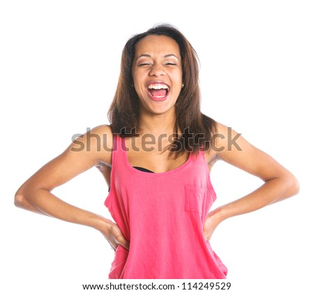 Portrait of an adorable young laughing girl. Isolated white backround - stock photo