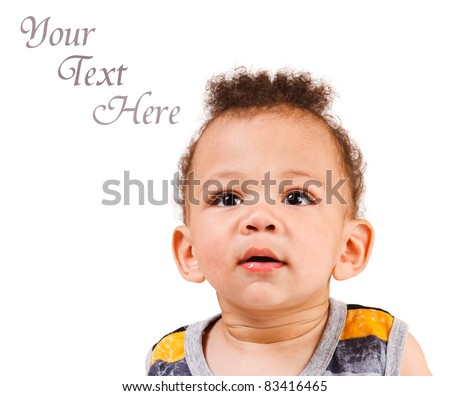 Portrait of an African American boy, isolated - stock photo