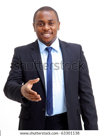 Portrait of an African American business man with an open hand ready to seal a deal - stock photo