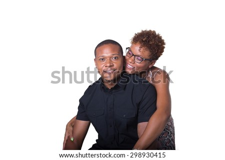 Portrait of an African American couple looking at the camera isolated on white