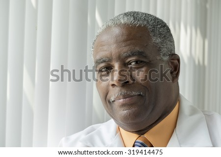 Portrait of an African American Doctor,Close up - stock photo