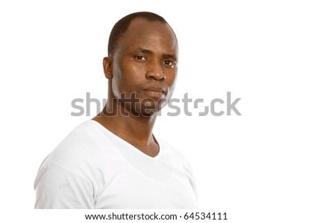 portrait of an african american isolated on white background - stock photo