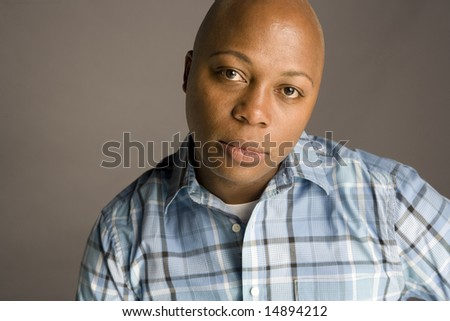 Portrait of an African American Man on Gray Background