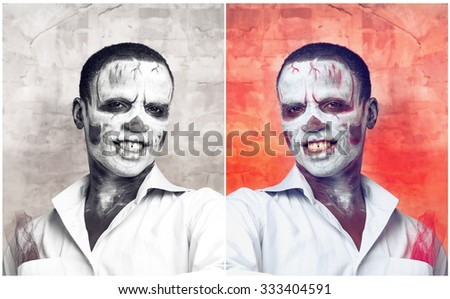 Portrait of an african man in the image of a skeleton or zombie. Festival, carnival, party, Halloween male african zombies. Voodoo people. Portrait of an African man in the makeup of the skeleton. - stock photo