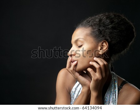 Portrait of an African woman with eyes closed