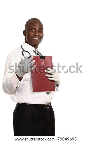 Portrait of an afro-american doctor against a white background