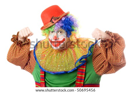 Portrait of an aggressive clown. Isolated on white - stock photo