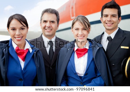 Portrait of an airplane cabin crew smiling
