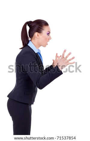 portrait of an angry business woman screaming to a side, isolated over a white background