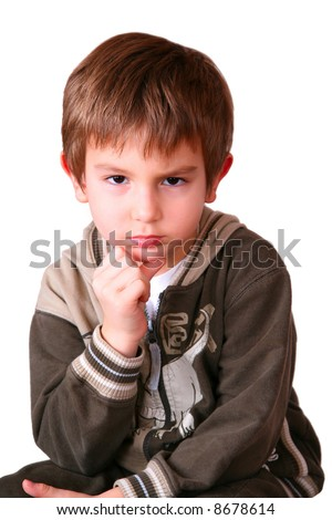 Portrait of an angry kid (isolated on white) - stock photo