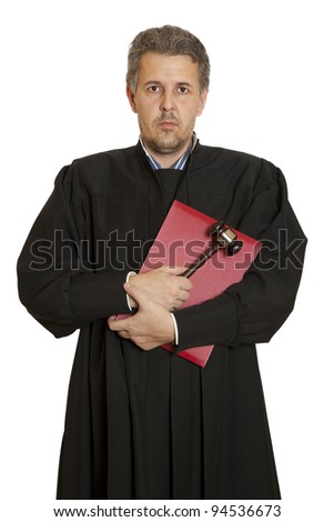 Portrait of an angry middle aged male judge isolated over white background - stock photo