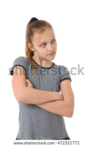portrait of an annoyed girl on white background