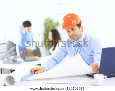 Portrait of an architect in the office - stock photo