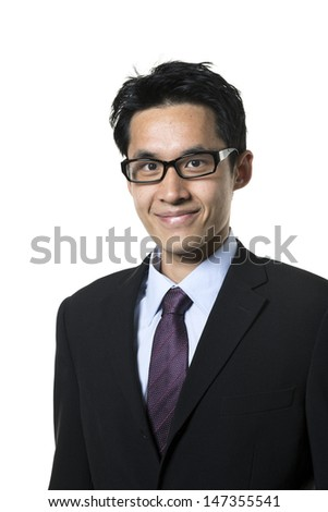 Portrait of an Asian business man. Isolated on a white background.