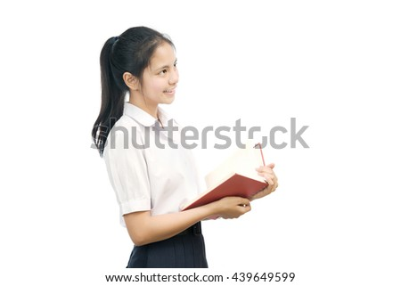 portrait of an Asian student holding Notebook on white background - stock photo