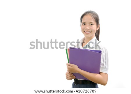 portrait of an Asian student on white background - stock photo