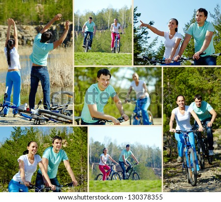 Portrait of an athletic couple on bicycles - stock photo