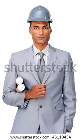 Portrait of an attractive afro-american architect against a white background