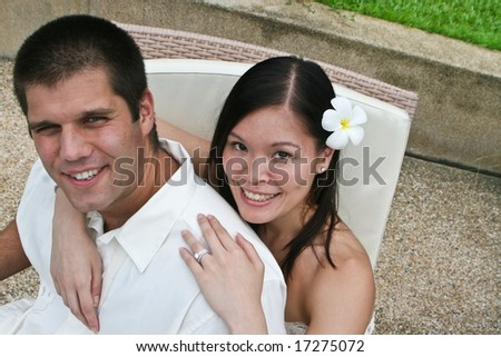 Portrait of an attractive bride and groom. - stock photo