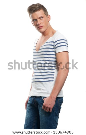 Portrait of an attractive caucasian man isolated on white background - stock photo