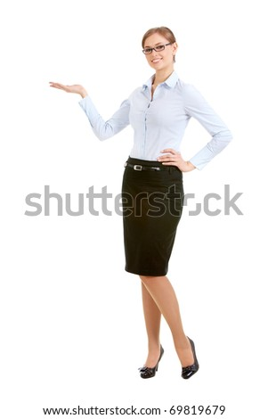 Portrait of an attractive girl in formalwear and glasses pointing at something - stock photo