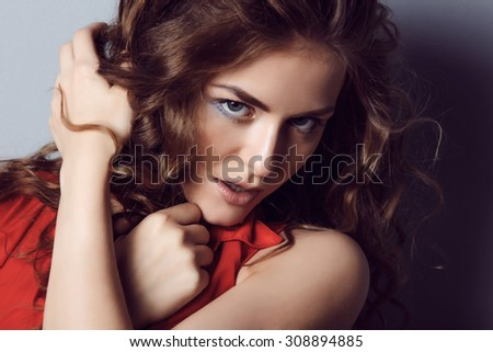 portrait of an attractive girl wear red makeup - stock photo
