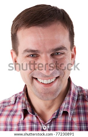 Portrait of an Attractive Man Smiling. Isolated on white background. - stock photo