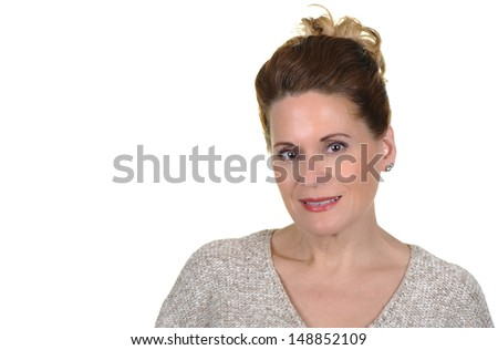 Portrait of an Attractive Mature Woman on White Background - stock photo