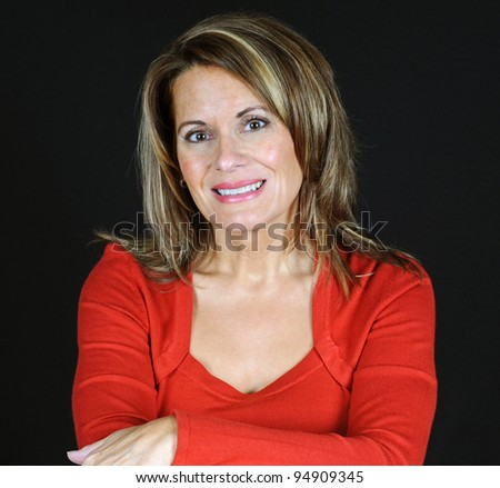 Portrait of an Attractive Middle Aged Woman - stock photo