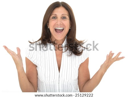 Portrait of an attractive senior businesswoman with her arms raised in celebration - stock photo