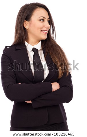 Portrait of an attractive smiling businesswoman with arms folded isolated on white background