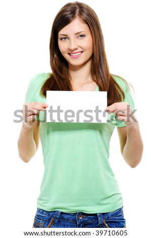 Portrait of an attractive young adult woman holding blank card - over white background - stock photo